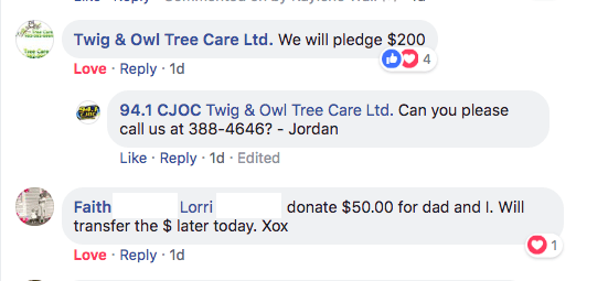Twig & Owl Tree Care making a pledge to the cause, and Lorri made a $50 donation for Faith and Dad!