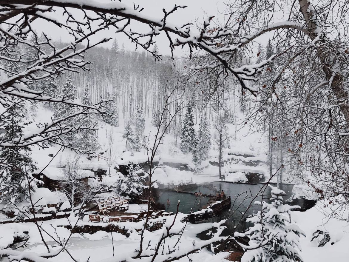 Natural hot springs in the snowy Colorado mountains