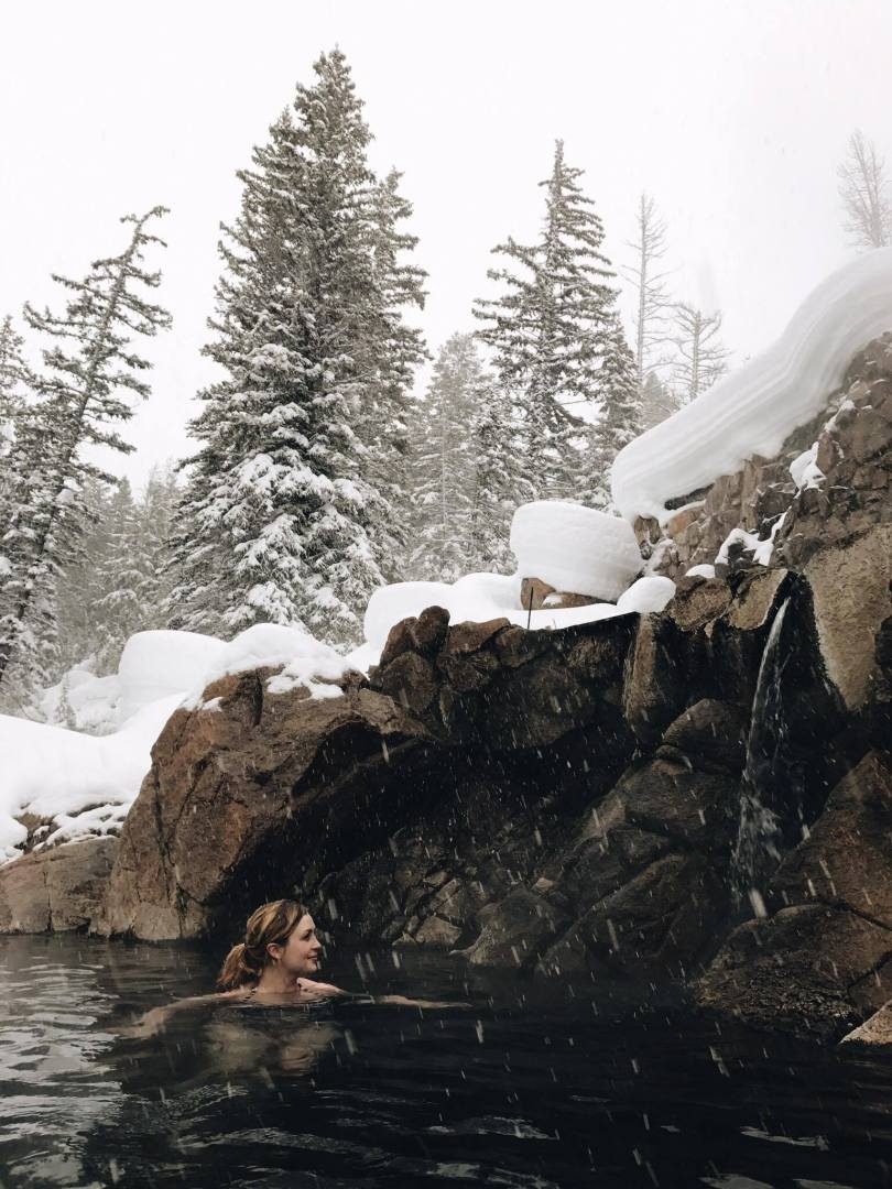 Natural hot springs in the Colorado mountains