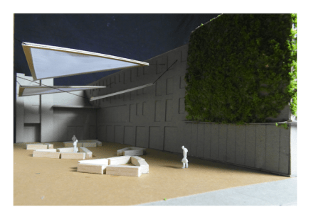Model of the Skainos building showing proposed outdoor covering
