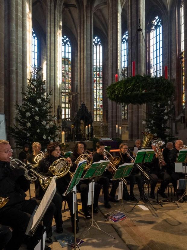 Trombone Choir playing a concert in St. Sebald