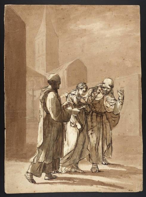 Jane Shore Doing Penance through the Streets of London between Two Monks null by British School 19th century 1800-1899