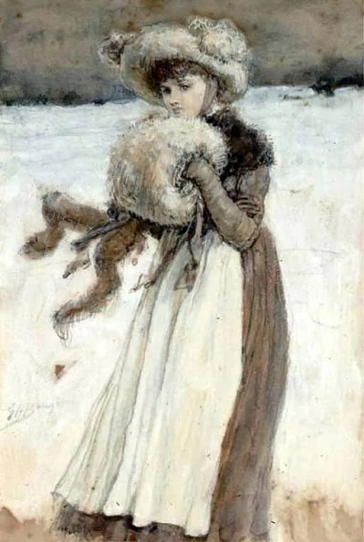 Boughton Watercolor Illustration to Love in Winter 1890s