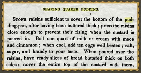Shaking Quaker Pudding Chadwick