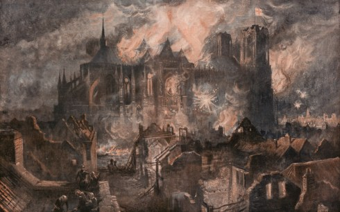 The burning of Reims Cathedral after the severe bombardment by the Germans, 17-24 September 1914