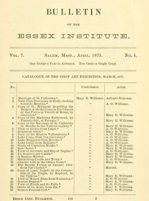 Artists Williams Sisters Bulletin of Essex Institue 1875 (2)
