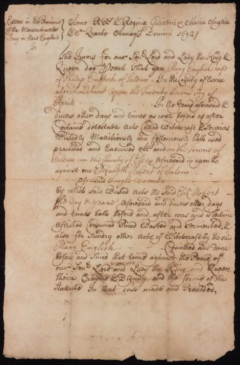 Salem Women Indictment Mary English Yale