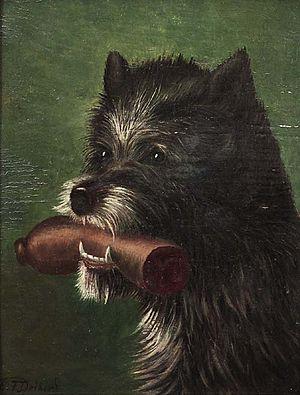 C F Deiker Hund mit Wurst