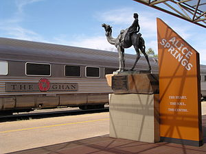 The Ghan waiting at Alice Springs station befo...