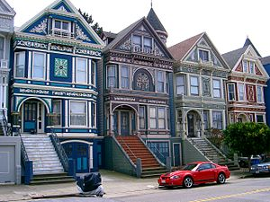 These Victorian rowhouses are in the Haight-As...