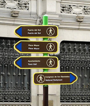 English: Direction signs in Madrid, Spain Fran...