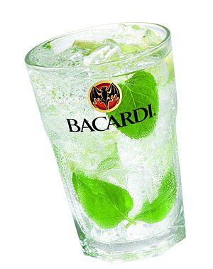 Bacardi mojito served in Bacardi branded glass.