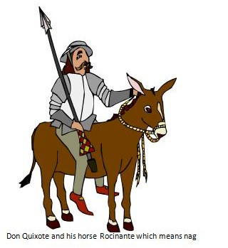 Don Quijote and his horse called Nag