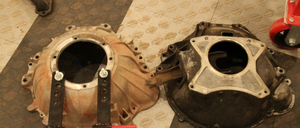 We had 2 bellhousings, one for an auto and one for a manual. We used the manual housing to match up to the flywheel.