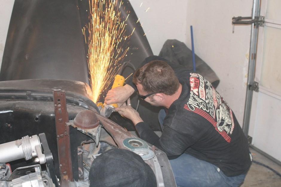 6. Using an angle grinder, John Van Pelt  ground the welds smooth.