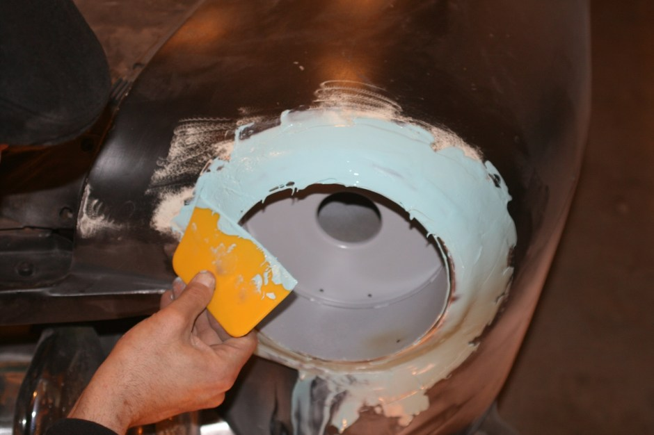 8. A coat of body filler was added to finish the job. Don't worry about working the filler smooth yet, leave it a little thick so it can be sanded smooth with less low spots, which require more applications.