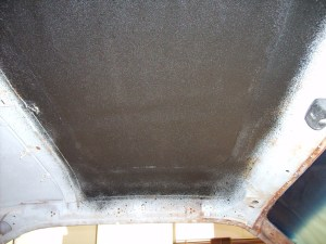 17. Then the underside of the roof was sprayed with undercoating. This will ensure the repairs will last for years and not rust.
