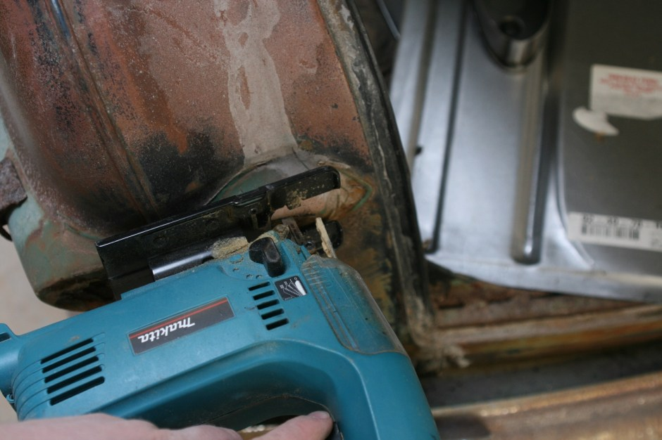 4. Using a jig saw with a metal blade, the panel was cut. There are other ways to do this, but the jig saw cuts clean.