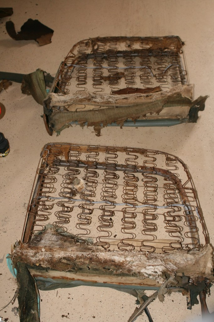 4. With the back rests off, they are laid out for stripping.