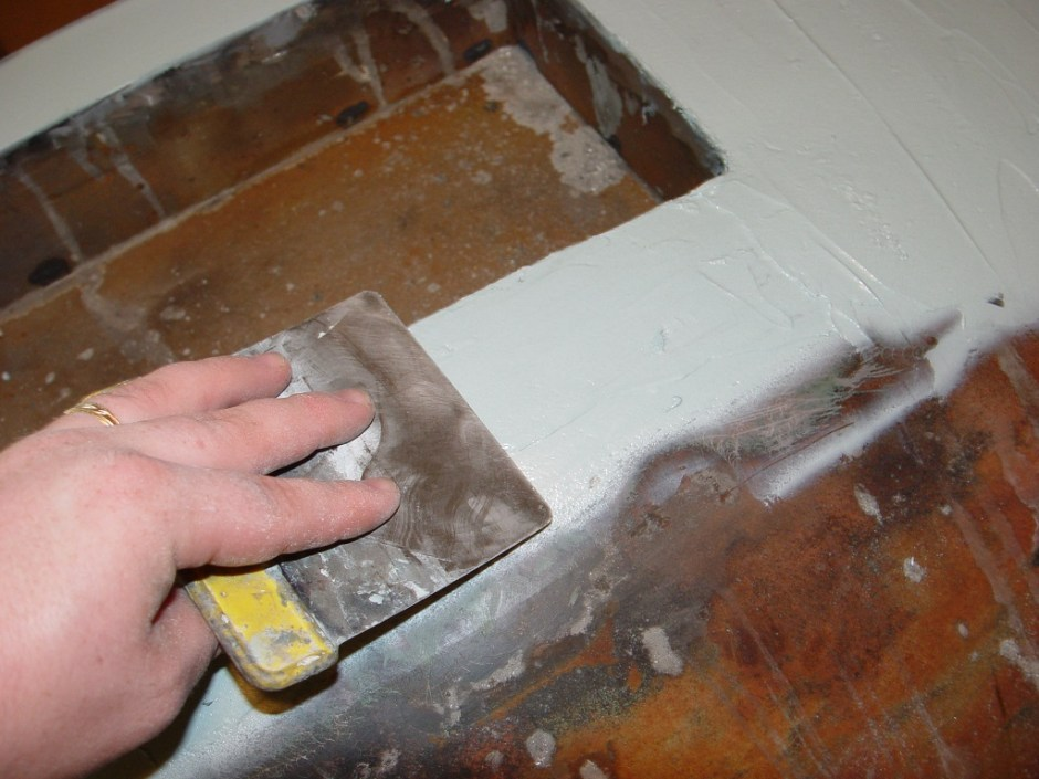 17. The entire area was cleaned and prepped with thinner then wiped with body filler.