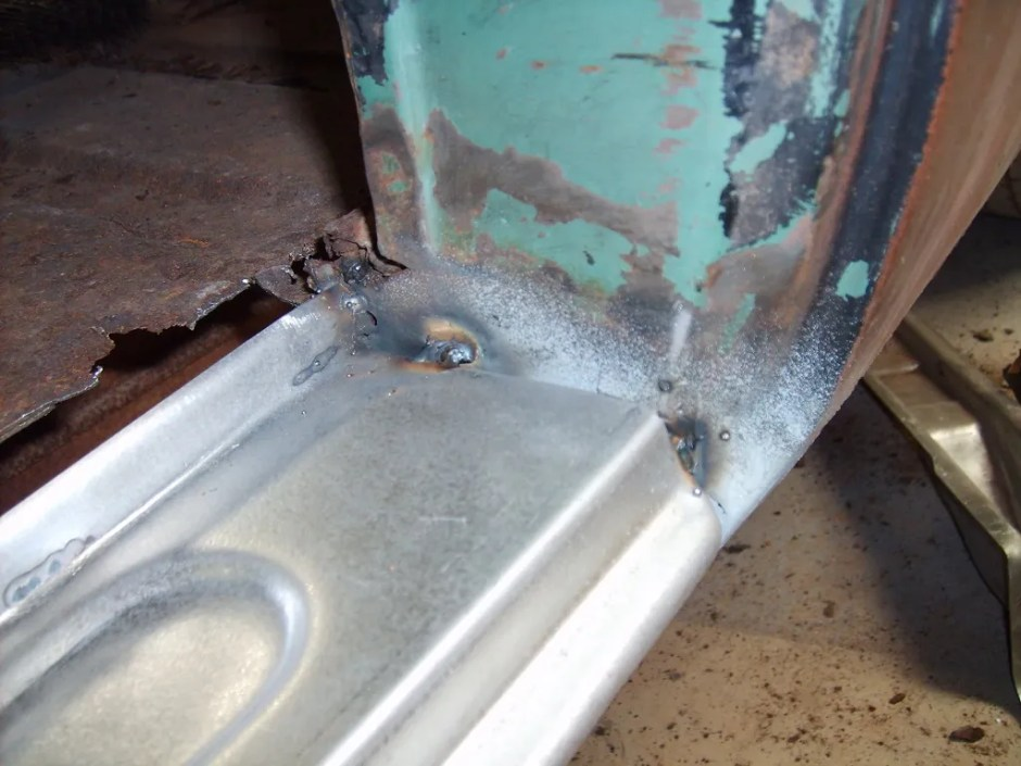 18. The panel assembly was then fit in place and tack welded.