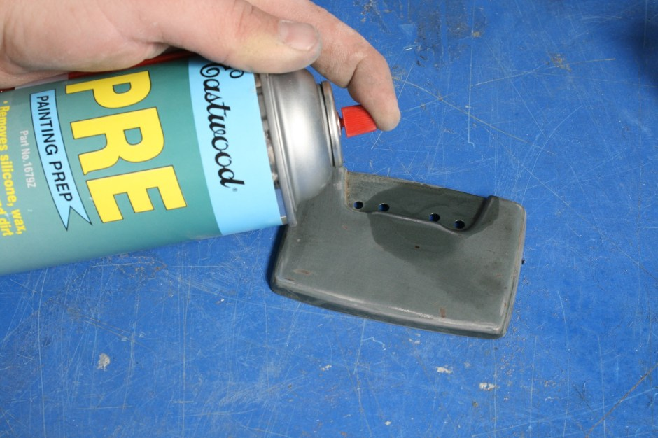10. The doors were then treated to some Eastwood PRE spray, which cleans off any residue, wax, and grease that may remain. Do Not spray this stuff on anything rattle can painted, it will eat it right off.