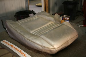 1.The original seat covers were pretty trashed, and in dire need of restoration. The seats were disassembled in preparation for the new covers.