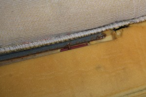 2.Underneath the cover, there are several areas that are recessed into the foam and ringed. Be careful not to put too much stress on the nylon bars; break or pull one of these out and the seat will not have the definition it needs.