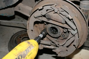14.The shoes don't need to come apart, simply unbolt the backing plates from the axles.