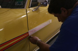 10.The door stripe was matched to the fender and placed on like the rest.
