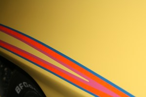 17.This shot shows the iridescent quality of the stripes. Phoenix Graphix considers this stripe kit to be one of its 2 major accomplishments in striping. The other is their 10th anniversary Trans-Am kit.