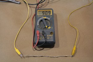 02.We made this tester from 6 15-ohm resistors wired in series. With the multi-meter leads on both ends, we can test the gauge at full 90-ohms (we are working with a GM product here).