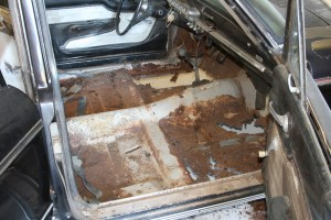 1.The original floor had rusted away to nothing. Even where the floor is there it is paper thin. The entire floor, from the toeboards to under the rear seat has to be replaced. Thankfully, the trans tunnel is good, at least most of it.