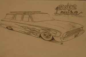 """The final rendering for the wagon, dubbed """"Geez Louise"""". While we kept the work simple, with some practice and patience, you can turn out similar art, complete with chopped tops, sectioned bodies, and radical mods."""