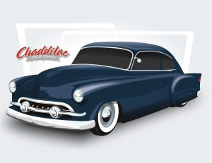 On the other side of things, we talked with Chad Cox of Chaddilac Designs to show us what a digital rendering looks like. Using a '49 Chevy, Chad graphed on trim from a '54 Pontiac, a '51 Ford grille, and '56 Packard taillights with custom fins, shaved all the stock trim and handles, lowered the car, and finished it off with a nose and deck job.