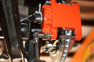 13.The calipers were installed and bolted down. The pads fit a little tight, but after a test run, everything came in line.
