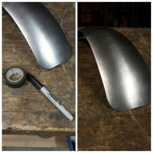 Again, using what you have sitting around (our tech used his electrical tape), scribe radius lines for the corners of your fender. Then cut or grind off the excess and touch it up with the scuff pad.