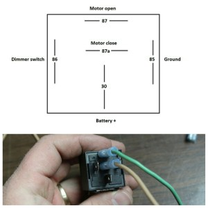 20. A standard Bosch relay has 5 terminals. 86 and 85 are the trigger sides; we used 86 for power and 85 for ground. Terminals 87 & 87a are the functions. 87 is normally open, no juice, 87a is normally closed, has juice. When the relay is actuated, they switch; 87 gets power, 87a loses it. For this operation, 87 feeds the open side, 87a feeds the close side. Terminal 30 connects to the battery positive. We ran a separate wire from the hi-lo switch (the main feed wire coming from the headlight switch that is powered regardless of the hi-low beam switch) to serve as the trigger for the relay. If you used one of the headlight wires as the trigger, the system would only work in either hi or low beam. See associated picture for the relay diagram.