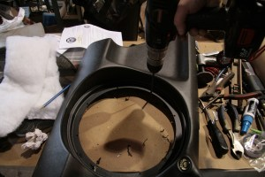 36. Next, the subwoofer was centered in the enclosure faceplate and then predrilled for the mounting screws. Failure to do this step will greatly complicate the installation of the cover and subwoofer.