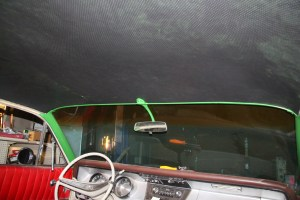 26. The finished headliner looks great. The green trim really stands out against the black perf vinyl. Eventually, the rest of the interior will be re-upholstered in a mix of green and black, with brown accents, such as the dash (which is stock and absolutely perfect) remaining as is.