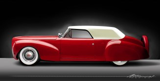 The forward-swept B-pillar of the Carson style top give the Lincoln a racy look