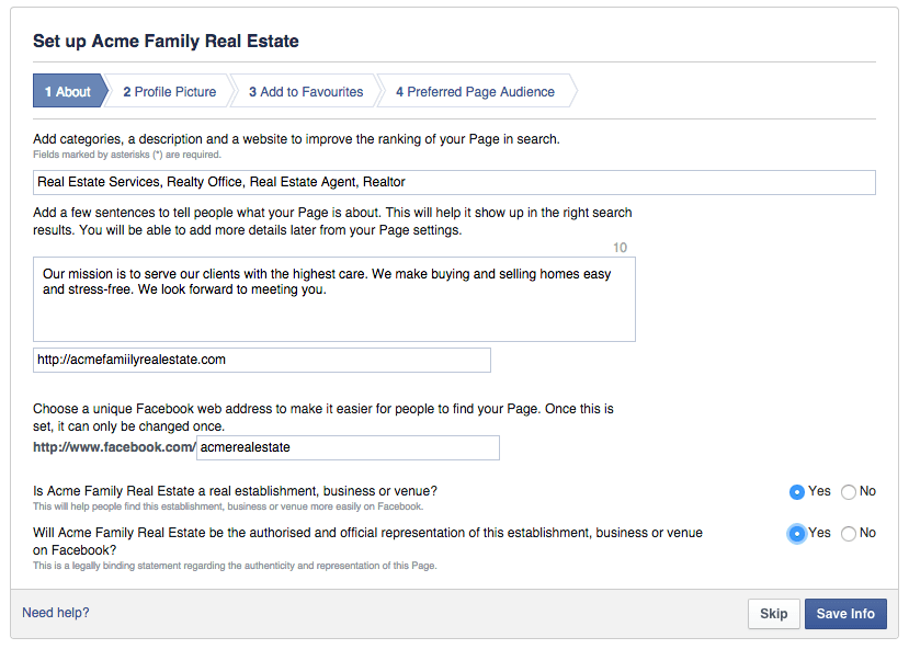 Form Facebook shows users when creating a local business facebook page