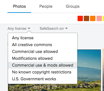 A screenshot of Flickr's license options