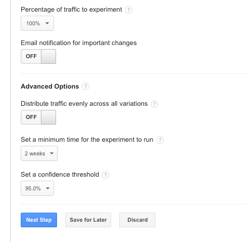Content experiment settings