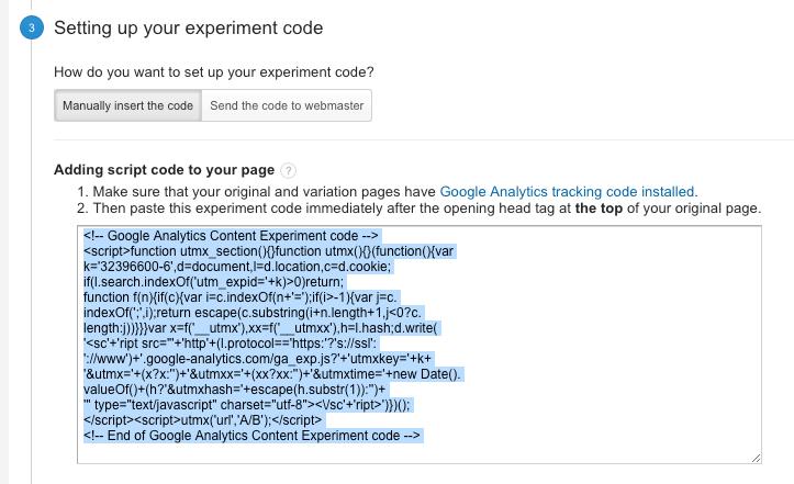 Google experiment code