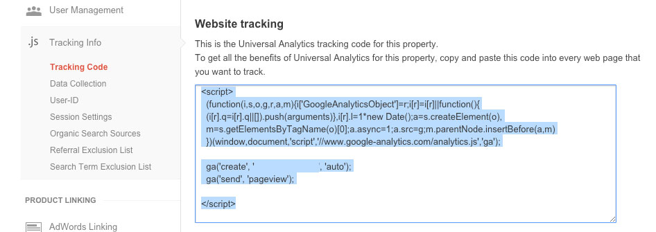 Google Analytics Website Tracking Screenshot