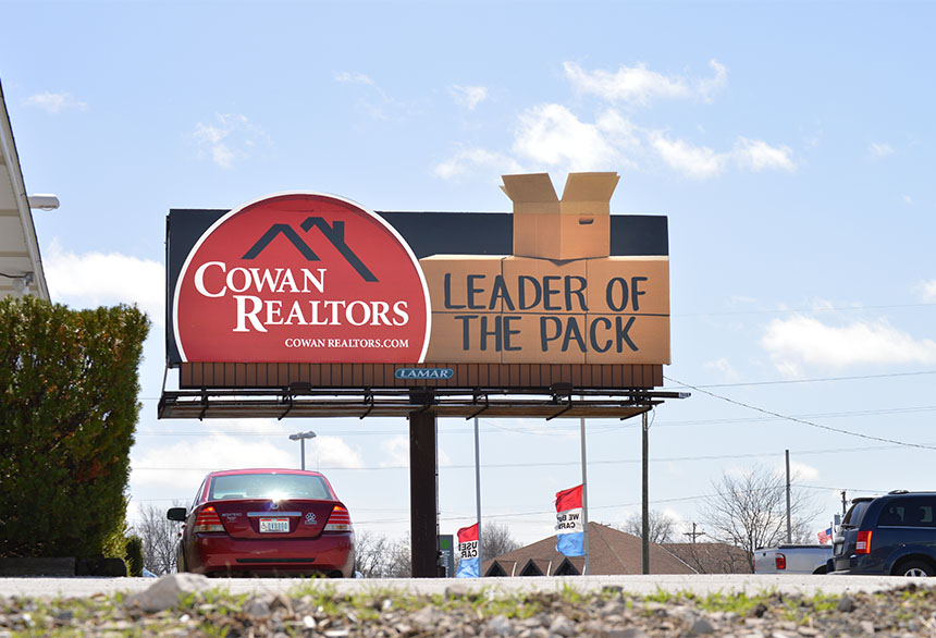 """""""Leader of the pack"""" billboard could be improved if they instead shared the value their clients get when working with them."""