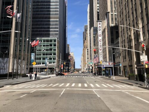 Photo of a completely empty 6th Avenue