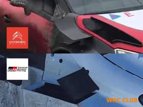 Сравнение боковых аэродинамических плоскостей Citroen C3 WRC и Toyota Yaris WRC