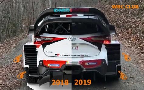 Изменения задней аэродинамики на Toyota Yaris WRC к 2019 году